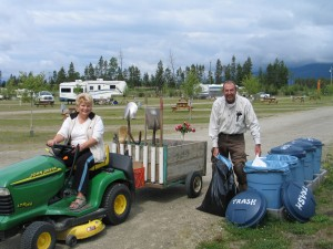 RVers enjoying their campground job - work and travel
